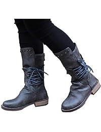 SUCES Damen Stiefel Leder Warm Gefüttert Platz Ferse Rund Toe Schnürsenkel  Nieten Ankle Boots Winter Verschleißfest b26ed7850b