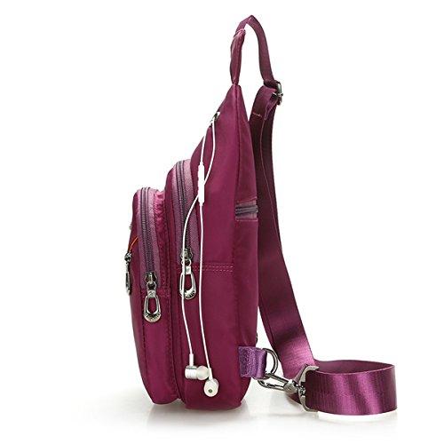 Veriya, borsa a tracolla monospalla casual impermeabile con porta per cuffie per viaggio, trekking, ciclismo, per uomo, donna, ragazza, Black Dark Purple