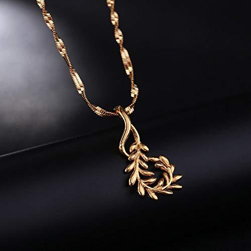 XZZZBXL Damenhalskette,Olive Branch Erklärung Halsketten Anhänger Frau Kragen Wasser Welle Kette Lätzchen Gelb Gold Gefüllt Chunky Schmuck Olive Wellen
