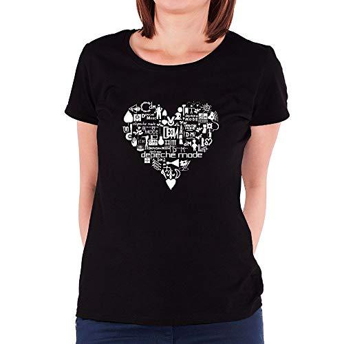 HUANGHUIH Mujer Heart Depeche Mode Logo Cotton Print...