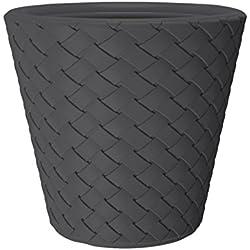 Kreher XXL Pflanzkübel mit 60 cm Durchmesser und 59 cm Höhe! Aus Kunststoff in Anthrazit in moderner Flecht-Optik. ALS XXL Topf für Bäumchen, Gräser oder ALS Mini-Teich für Garten und Terrasse!