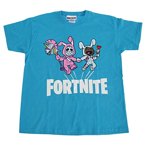 Fortnite - Camiseta Infantil de Manga Corta (7/8 Años) (Azul Claro)
