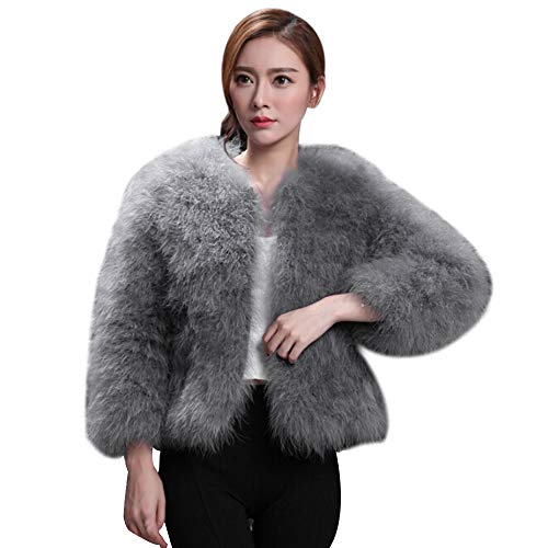 JiaMeng Damen Kunstpelz Straußenfedern weiche Pelzmantel Jacke Flauschige Winter Xmax Kurz Mantel Warmen Outwear Gefälschter Pelz Jacken