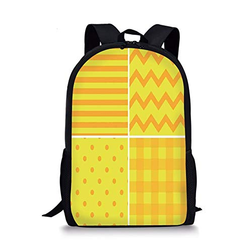School Bags Yellow,Collection of Different Patterns in Flat Design Chic Zigzag Dots Vertical Lines Retro,Yellow Orange for Boys&Girls Mens Sport Daypack Gold Flat Handle