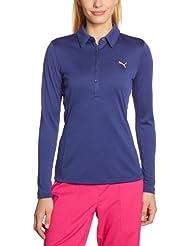 PUMA Polo de golf à manches longues pour femme Bleu