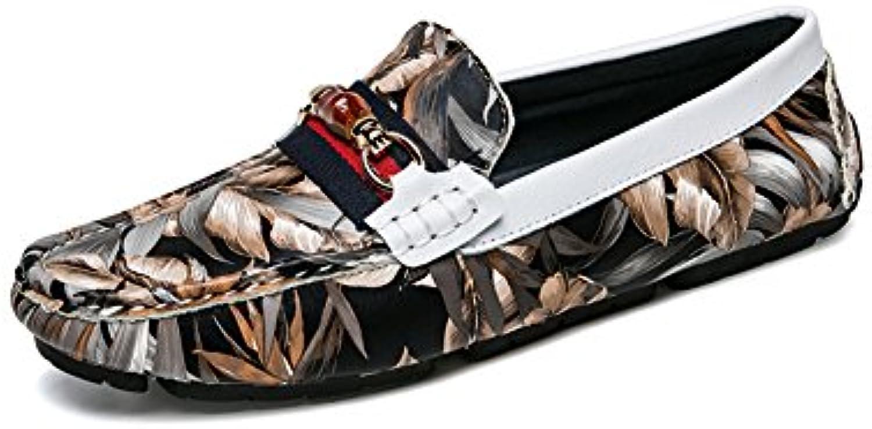 NXY Herrenmode Loafers Leder Persönlichkeit Camouflage Wohnung Slip auf Driving Mokassins Bootsschuhe