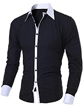 Beauty Top Camicia da Uomo Maglietta Camicie Slim Fit elegante Manica Lunga T-shirt Top Beautytop