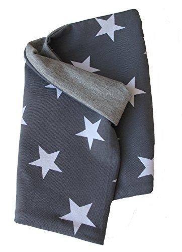 WOLLHUHN ÖKO Leichtes Halstuch, Kurzloop, Schal in grau mit weißen Sternen (aus Öko-Stoffen, bio) für Jungen und Mädchen, 20150314