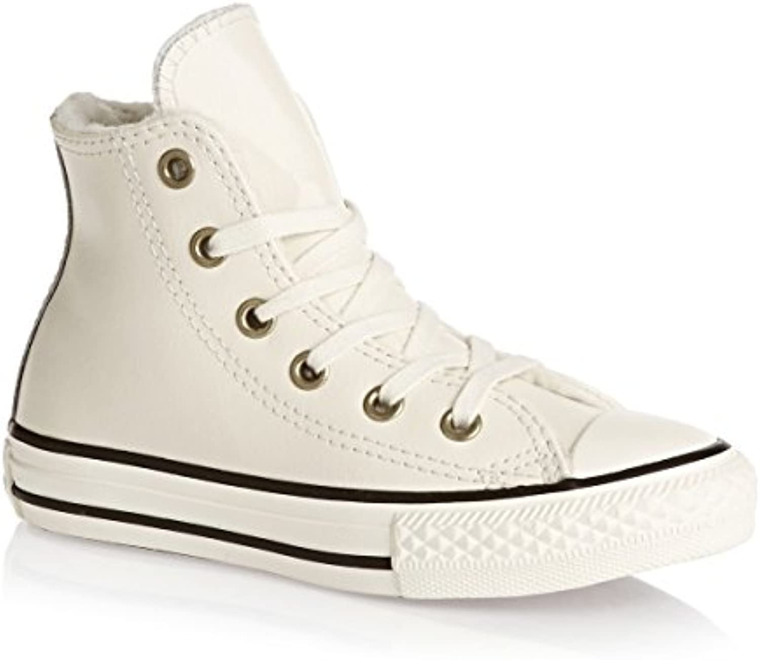Converse Trainers   Converse Chuck Taylor Youth Leather All Star Shoes   Parchment/Black