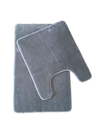 Maiija Badezimmermatte aus Coral-Fleece, geprägt, rutschfest, sehr weich, Memory-Schaum, rechteckig, Größe 2 Stück Grey-solid