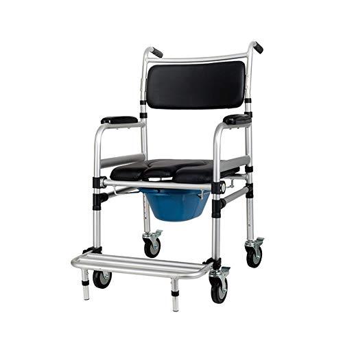 Chair Faltkommode Stuhl für Toilette mit Rädern & Pedal, Portable Duschbade-Stuhl für ältere Menschen, die Sich in der Lage sehen, Sich zu verständigen (Heavy Duty 220 lbs) (Portable Toiletten Für ältere Menschen)