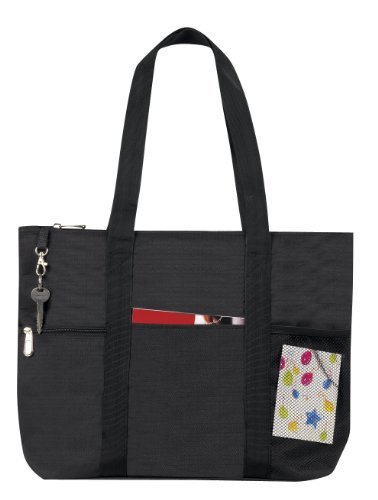 Bags-for-Less-Zipper-Travel-Tote-Sports-Gym-Bag-Black