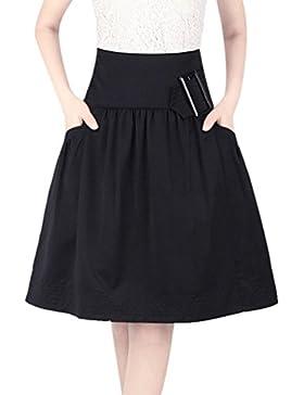 ZhiYuanAN Mujer Midi Falda Plisado De Cintura Alta Chic A Línea Skirt Salvaje Casual Talla Grande Faldas Con Volantes