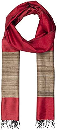 ROSHNI by Sunita bali Women's Handwoven Tassar Silk Long scarf/dupatta with Gicha silk border (Mar