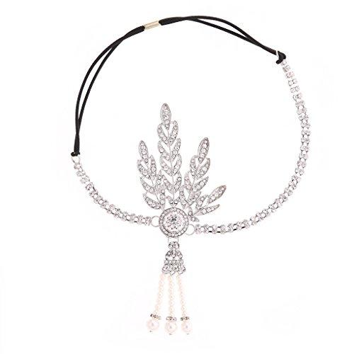 Gatsby Hochzeit Kristall Imitation Perlen Blätter Stirnband Silber ()