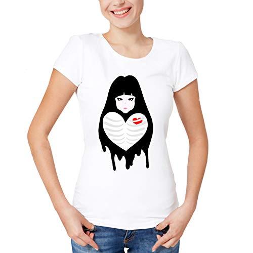 ZCYTIM Damen Karton Design Tops Super Funny Cute Girl Printed Kurzarm Mädchen Muster herzförmig -