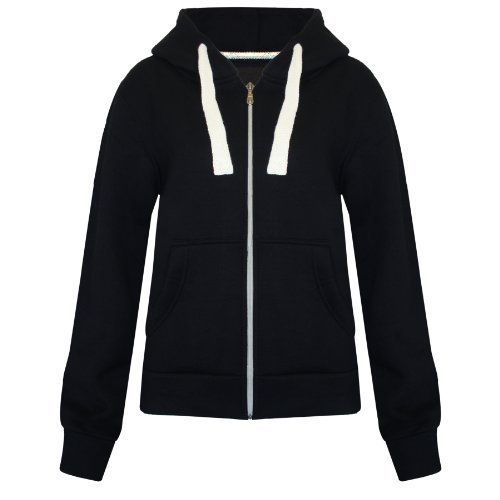 Womens Ladies Plain Zipped Fleece Hoody Hoodie Sweatshirt Size S M L XL XXL Test