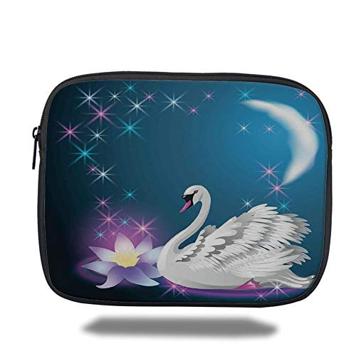 Tablet Bag for Ipad air 2/3/4/mini 9.7 inch,Swan,Magic Lily and Fairy Swan at Night Swimming in Lake Under Moon and Stars Picture Art,Blue White -