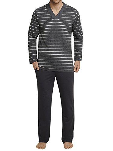 SCHIESSER Herren Schlafanzug lang Sweatware V-Ausschnitt Ringel anthrazit meliert Copenhagen Anthrazit-Melange