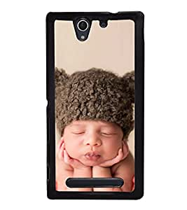Cute Kid with Brown Cap 2D Hard Polycarbonate Designer Back Case Cover for Sony Xperia C4 Dual :: Sony Xperia C4 Dual E5333 E5343 E5363