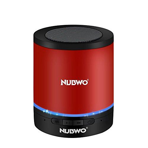 Bluetooth Lautsprecher,NUBWO A3 Kabelloser Tragbare Lautsprecher,Outdoor Mini Wireless Speaker mit Multifunktions-Stereo, Eingebautem Mikrofon,Freisprechanruf,LED-Licht,TF-Kartensteckplatz(Rot)