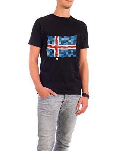 """Design T-Shirt Männer Continental Cotton """"Iceland Flag"""" - stylisches Shirt Reise Reise / Länder von GREENGREENDREAMS Schwarz"""