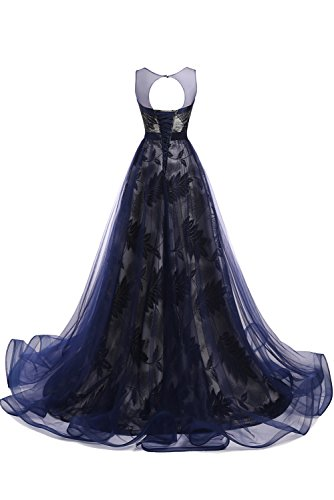 Gorgeous Bride Modisch Rundkragen Schnürung A-Linie Schleppe Abendmode 2017 Damen Abendkleider Ballkleider Lang Cocktailkleider Dunkelblau