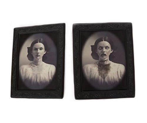 re 3D ändernde Gesichtsbewegung Bilderrahmen Horror Porträt Dame Gentleman Little Girl Monster Haunted Spooky Dekorationen für Halloween Theme Party Home Decor (Dame) (Halloween Requisiten Bewegen)