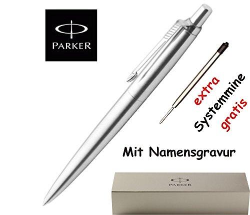 Parker Kugelschreiber Jotter K 61 Edelstahl mit GRAVUR + 1 Systemmine schwarz extra inkl. Geschenkverpackung
