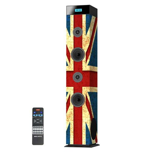Majestic ts 94 cd bt usb ax - altoparlanti a torre bluetooth, lettore cd/mp3, ingressi usb/aux-in, radio, bandiera vintage uk
