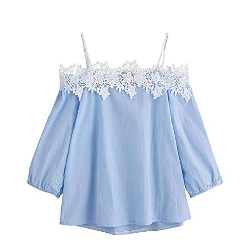 Amlaiworld Femmes Off shoulder Lace t-shirt Top Tops dames tee blouse (XL, Bleu)