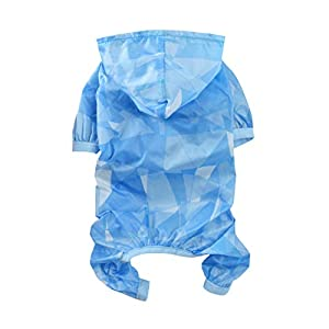 Hemobllo Vêtements d'été pour Animal Domestique à Capuche Mince pour Pare-Soleil Combinaison de Protection Solaire Vêtements pour Chien Chiot Animal Taille XL Bleu Ciel