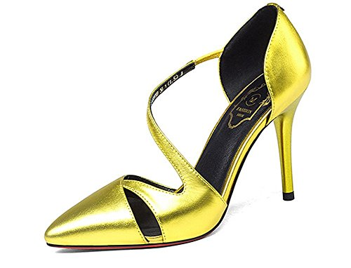 Beauqueen Casual Pumps Party Work Chaussures Summer Women S-Strap Low Heel Silver Gold Simple Vintage Europe Taille 33-39 Gold