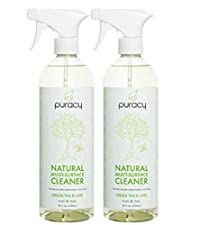Puracy Natural Multi Surface All Purpose Cleaner, Premium USA Disinfectant Spray, Green Tea & Lime - 739 ml (Pack of 2)