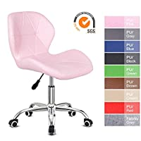 EUCO Desk chair,Office Chair Adjustable Height Computer Chair PU Leather Padded Swivel Chair,Home/Office Furniture