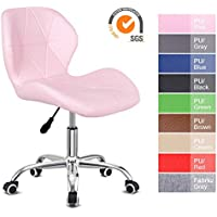 EUCO Desk chair for Home,PU Leather Pink Comfy Padded Computer Chair Adjustable Height Swivel Chair Kids Chair,Home/Office Furniture