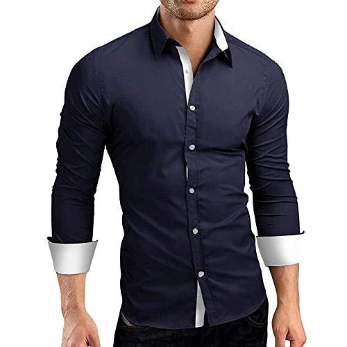 Makefortune Männer Casual Formal Dress Shirt Kontrast Langarm Schwarz Weiß Blau Dunkelblau Grau