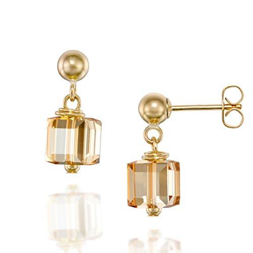 Original Swarovski Würfel, crystal Post Ohrringe in 925Sterling Silber oder 14K Gold gefüllt - Golden Shadow Crystal - 14K Gold Filled