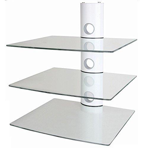 NEG Multimedia TV-Rack SUSPENDER 503W (weiß) mit 3 Glas-Ablagen (extra groß, 15kg pro Ablage) und Kabelmanagement-System