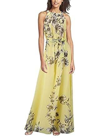 Minetom Donna Vestito Lungo di Chiffon Stampa Fiore Collare del ... 9d759ec6a54