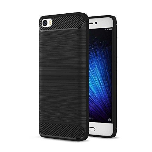 msk Xiaomi Mi 5 Hülle, Ledertasche Weiche Silikon Smartphone Schutzhülle Kohlefaser TPU Hülle Bumper Case für Xiaomi Mi 5 M5 (Schwarz)