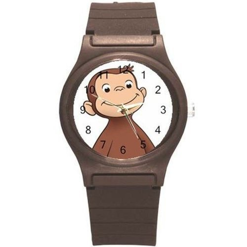 Image of Curious George on a Boys, Girls Brown Plastic Watch Band