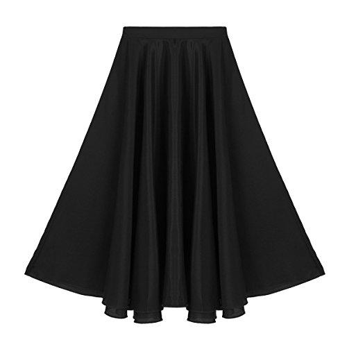 CHICTRY Falda Larga de Ballet Clásica para Niñas Falda Plisada de Danza Flamenco Tango Ropa de Baile Skirts Dancewear para Chicas 6-14 Años Negro 8 años