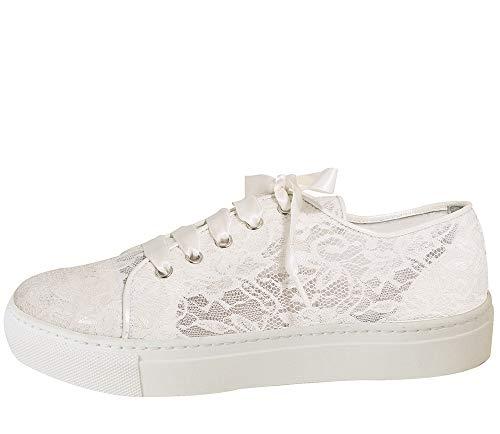 Fiarucci Brautschuhe Nelli - Damen Sneaker gepolstert, Ivory/Creme, Leder - Gr. 37 (UK 4)
