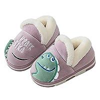 KVbabby Kids Winter Home Plush Slippers Comfort Memory Foam Anti-Slip House Shoes for Boys Girls, Purple, 12.5/13 UK