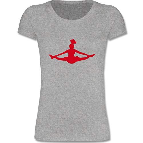 Sport Kind - Cheerleading - 110-116 (5-6 Jahre) - Grau meliert - F288K - Mädchen T-Shirt
