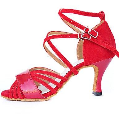 Scarpe da ballo-Personalizzabile-Da donna-Balli latino-americani-Tacco a rocchetto-Vellutato-Rosso Red