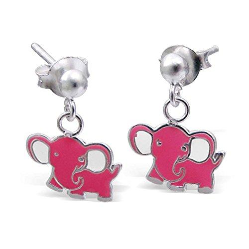 SL-Collection pendientes de los niños Rosa Elefant 925 plata