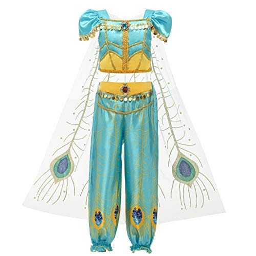 Ninjas Mädchen Der Kostüm - RYTEJFES-Kinderbekleidung für Mädchen,Kleinkind Baby Kinder Mädchen Sleeveless Pailletten Sling One Shoulder Top + Mesh Spleißen Fransen Lange Hosen Zweiteiler Prom Cos Kostüm (Grün2, 140)