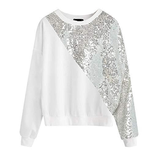 66363f14e MEIbax Camiseta Sudadera Mujer de Moda Empalme Moda Blings Lentejuelas  Bloque de Color O-Cuello